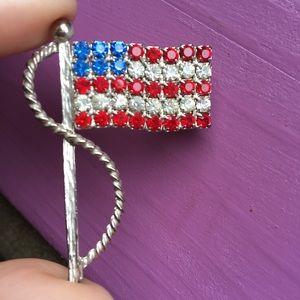 🔥BOGO🔥 American Flag Crystal Fourth of July Pin
